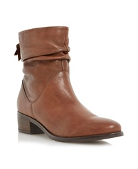 Dune Pager Slouch Leather Ankle Boot Tan