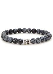 Simon Carter Grey Beaded Obsidian Bracelet Black And Grey