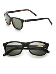 Montblanc 53Mm Square Sunglasses Dark Havana Black