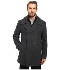 Marc New York Cushing Pressed Wool Peacoat W Removable Quilted Bib Charcoal Men's Coat Gray