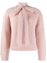 'Red Valentino' Pussy Bow Detailed Jumper Pink