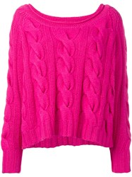 N.Peal Chunky Cable Slouch Jumper Pink Purple