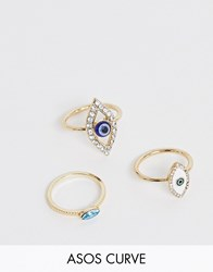 Asos Design Curve Pack Of 3 Eye Rings In Gold Tone Gold
