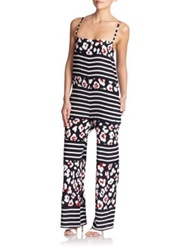 Red Valentino Leopard And Stripe Print Jumpsuit Red Blue White