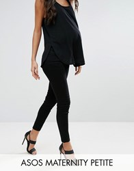 Asos Maternity Petite Ridley Skinny Jean In Clean Black With Under The Bump Waistband Black