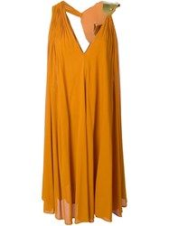 Jay Ahr Gold Tone Detail V Neck Dress Yellow And Orange