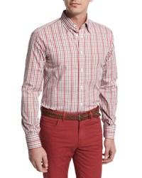 Brioni Plaid Cotton Sport Shirt Red Tan