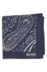 Boss Paisley Cotton And Wool Pocket Square Blue