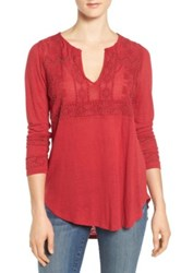 Lucky Brand Embellished And Embroidered Linen Blend Blouse