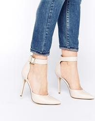 London Rebel Stakes Ankle Strap Pumps Nude