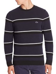 Lacoste Textured Striped Sweater Navy Black