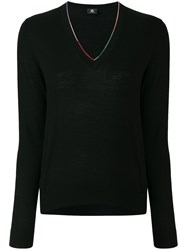 Paul Smith Contrast Neckline Sweater Polyester Viscose Wool L Black