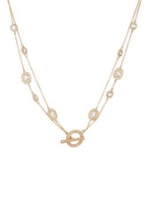 Nadri Bezel Double Chain Toggle Necklace No Color