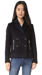 Scotch And Soda Maison Scotch Wool Pea Coat With Zip Pockets Navy