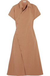 Tomas Maier Cotton Blend Poplin Wrap Dress Camel