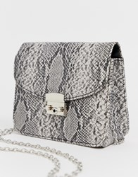 French Connection Snakeskin Bag With Chain Strap Grey