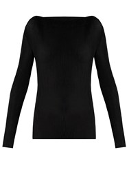 Raey Long Sleeved Pleated Jersey Top Black