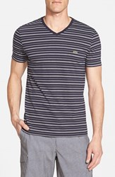 Men's Lacoste Regular Fit Stripe V Neck T Shirt Navy Blue Flour