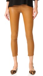 Theperfext Brittany Cropped Leather Pants Cognac