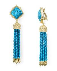 Kendra Scott Misha Clip On Drop Earrings Gold Turquoise