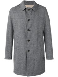 Lardini Rvr Single Breasted Coat Men Linen Flax Polyamide Wool 56 Blue