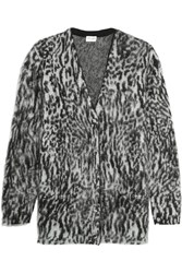Saint Laurent Oversized Leopard Intarsia Mohair Blend Cardigan Light Gray Leopard Print