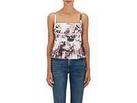 Brock Collection Peplum Floral Cotton Blouse Lilac