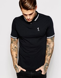 Religion Jersey Polo Shirt With Tipped Collar Black