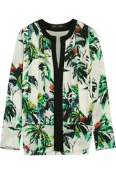 Proenza Schouler Pleated Printed Silk Crepe Blouse
