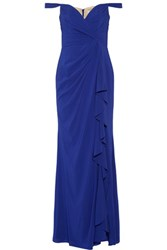 Badgley Mischka Draped Off The Shoulder Silk Chiffon Gown Royal Blue