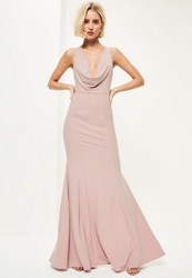 Missguided Pink Crepe Front Cowl Maxi Dress Mauve