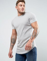 Asos Super Longline Muscle Rib T Shirt With Curved Hem In Grey Paving