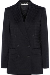 Stella Mccartney Houndstooth Cotton And Wool Blend Blazer Blue