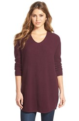 Women's Bobeau V Neck Tunic Sweater Purple Nectar