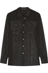 Alexander Wang Embroidered Silk Chiffon Blouse Black