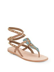 Ash Pam Beaded Leather Thong Sandals Multi