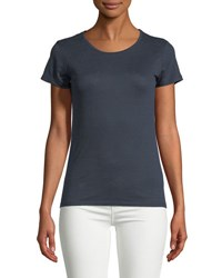 Majestic Paris For Neiman Marcus Linen Short Sleeve Top Marine