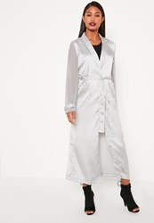 Missguided Grey Satin And Chiffon Mixed Belted Duster Coat