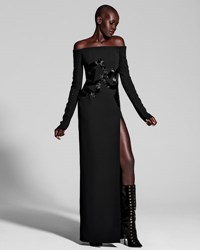 J. Mendel Long Sleeve Off Shoulder Column Gown Black