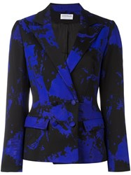 Osman Marble Print Fitted Jacket Blue