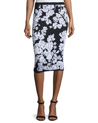 Milly Floral Fitted Midi Skirt Black White