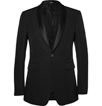 Burberry Wool And Silk Blend Tuxedo Jacket Black