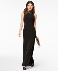 As U Wish Juniors' Embellished Column Gown Black