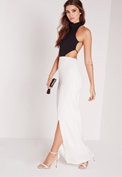 Missguided Backless Maxi Dress Monochrome White