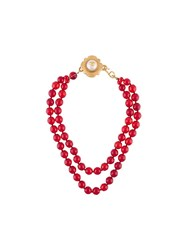 Chanel Vintage Gripoix Beaded Choker Necklace Red