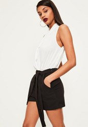 Missguided Black Tie Belt Wrap Over Skort