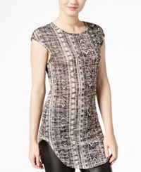 Almost Famous Juniors' Printed High Low Tunic Taupe Black