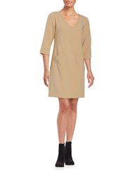 Trina Turk Silvia Knit Shift Dress Beige
