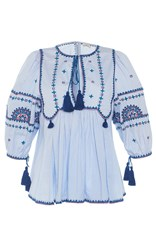 Talitha Blue Indian Peasant Top Light Blue