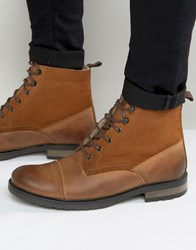 Asos Lace Up Boots In Tan Leather With Borg Lining Tan